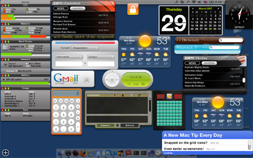 Utilizzare i widget sul desktop di leopard (come i gadgets di windows)