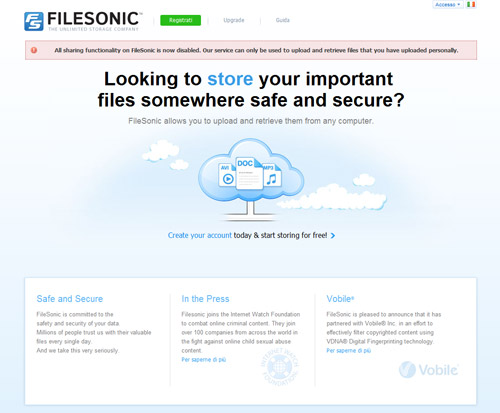 Cade anche Filesonic, dopo Megavideo e Megaupload