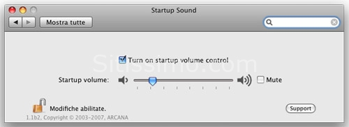Utility per Mac OsX: StartupSound Panel